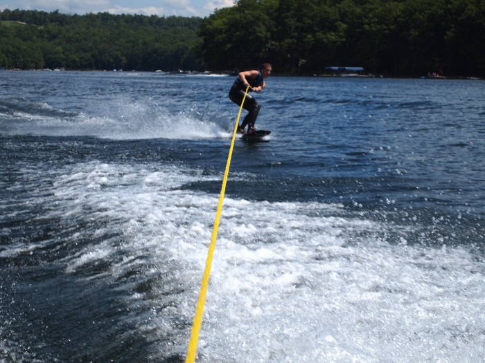 Adam on the wakeboard