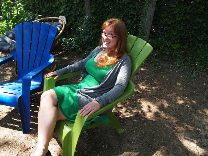 Sarah in her backyard on Hanover Ave.
