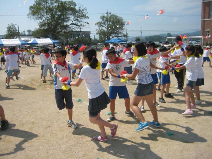 children playing at a sports day at Chojeon Elementary School, Chojeon, South Korea