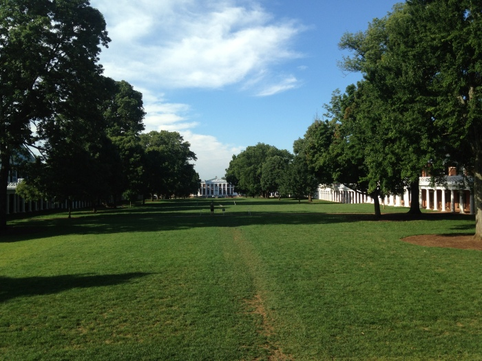 the view of the Lawn from the steps of the Rotunda