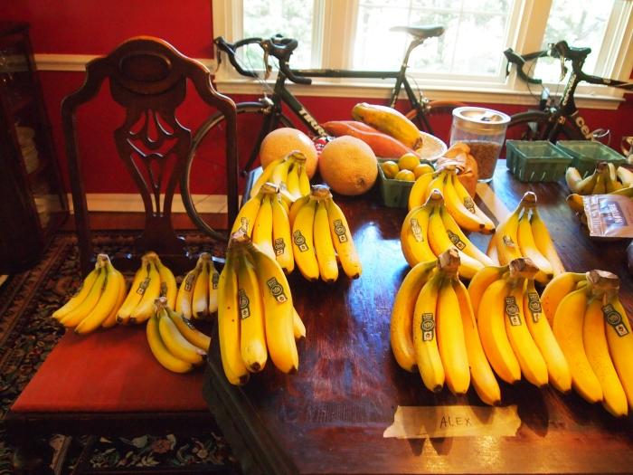 The dining room filled with fruit and bikes