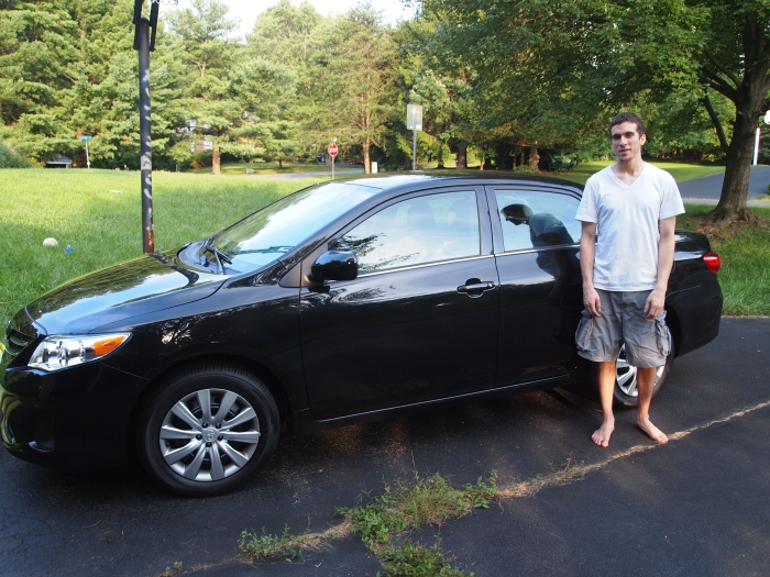 Alex with my new car