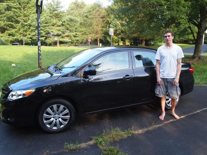 Alex with my new car