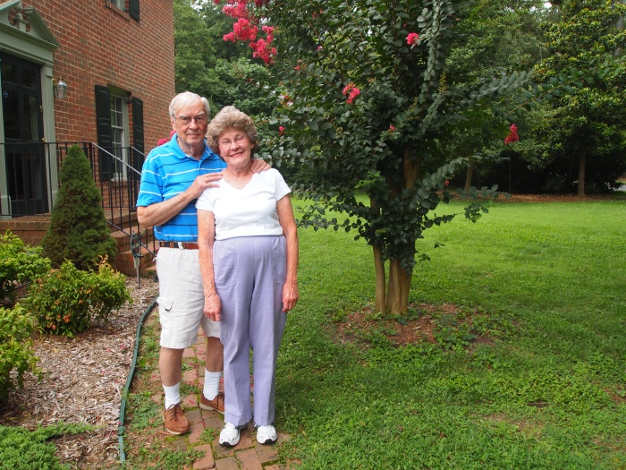 Dad and his wife Shirley in the front yard