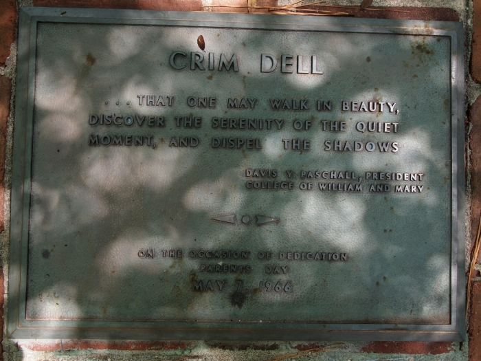 The Crim Dell plaque