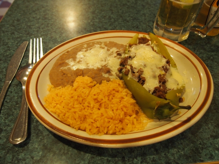 Chili Relleno, rice and beans at La Tolteca