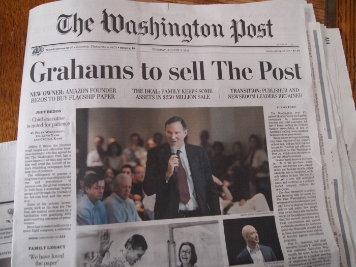 The August 6 headlines from yesterday's sale of the Washington Post
