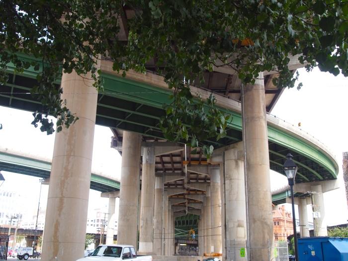 under the highways