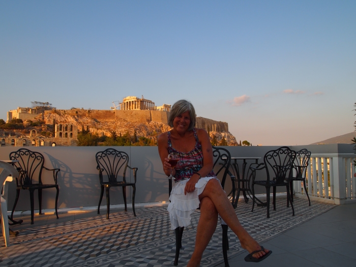 "me, at ""play,"" atop the Acropolis View Hotel in Athens :-)"