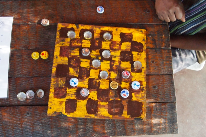 checkers with bottle caps