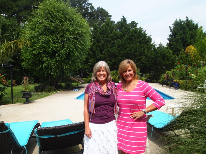 me and Joan in front of her backyard pool