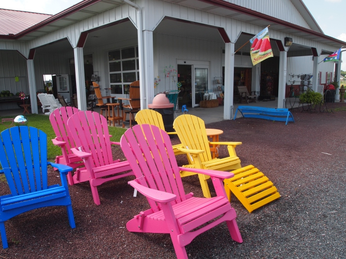 Adirondack chairs at the farm market