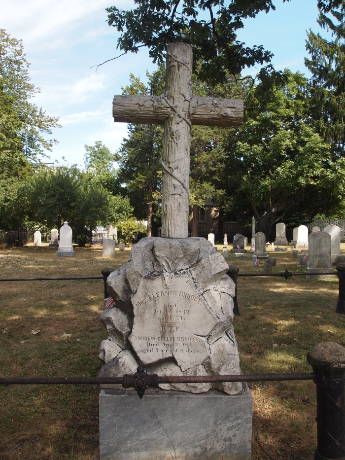 a cool-looking tombstone in St. Mary's Cemetery in Rockville, Maryland