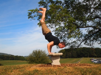 Alex does a handstand at Sky Meadows
