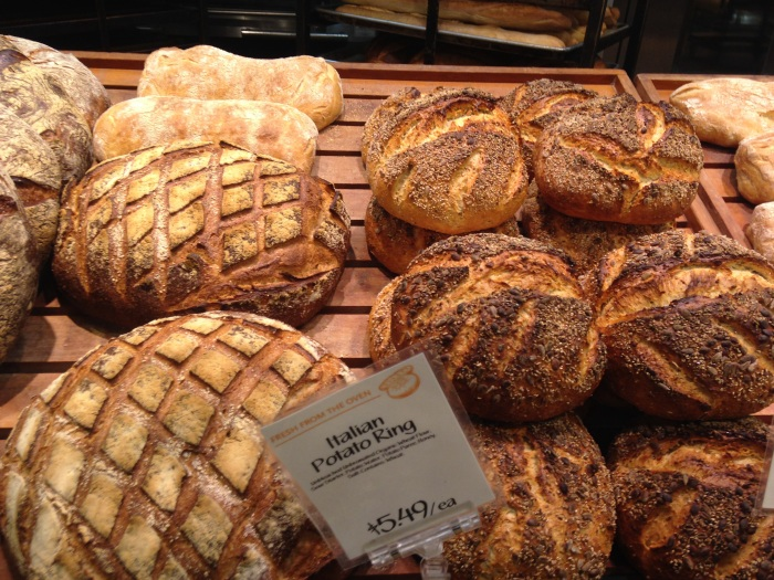 Fresh bread in the bakery at Whole Foods