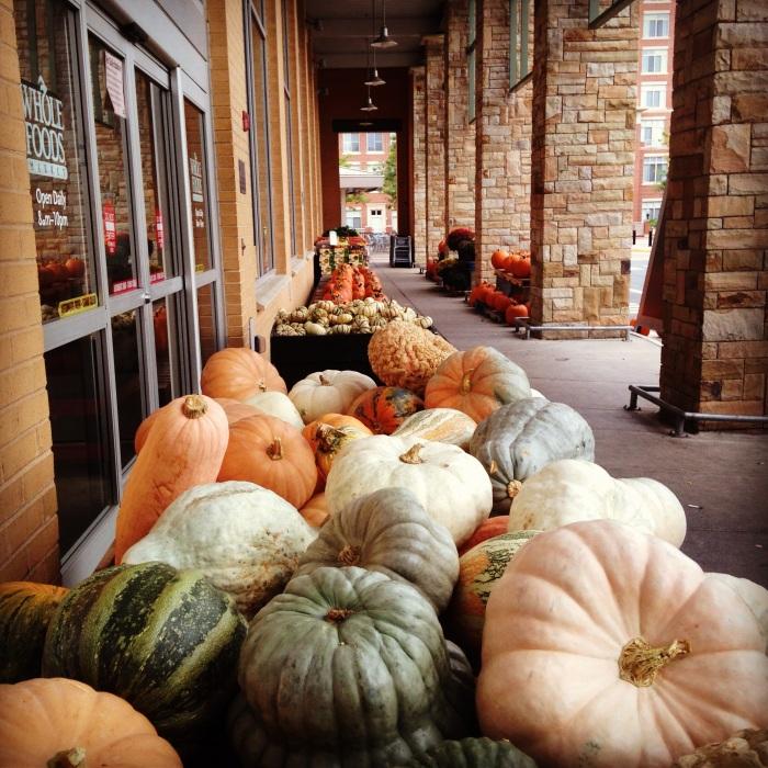 squash displays at Whole Foods