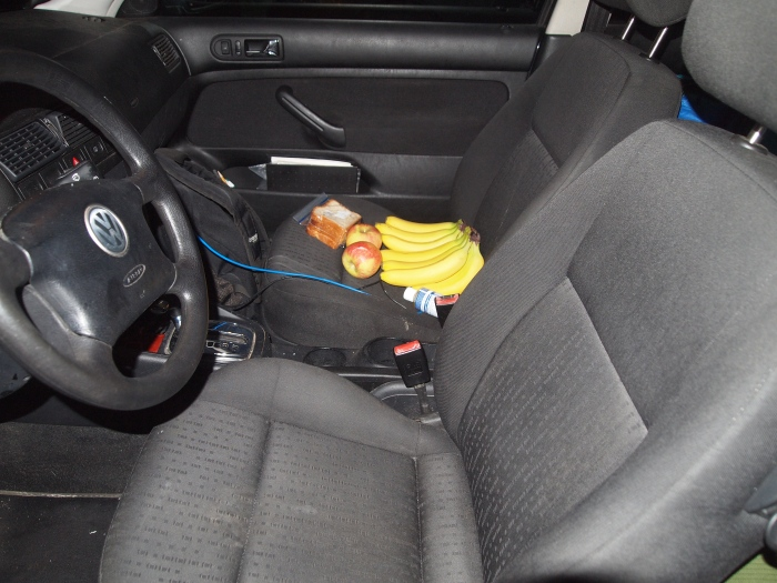 His car loaded up with bananas for breakfast