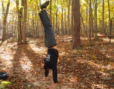 Alex does a handstand