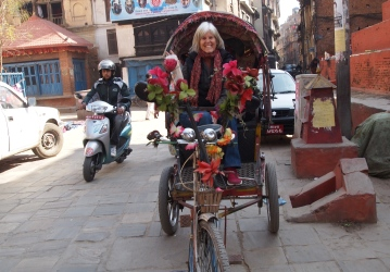 me in a rickshaw in Kathmandu
