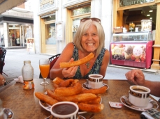 eating churros in Granada