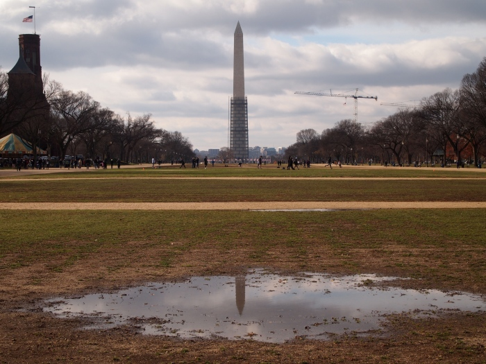 the Washington Monument, with the scaffolding half removed