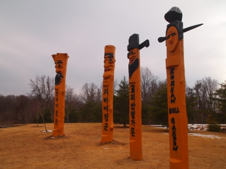 Korean totems at the Korean Bell Garden