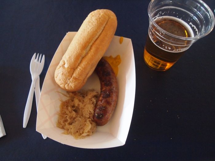 bratwurst, sauerkraut and beer