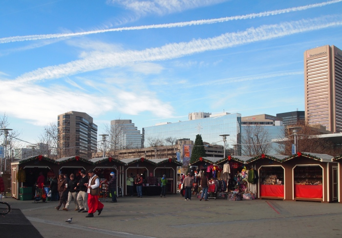 the outdoor Christmas market