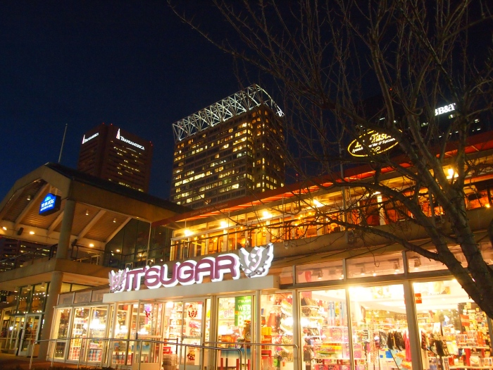 shopping arcades at the Inner Harbor