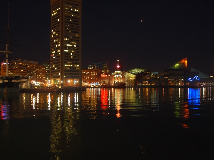 nighttime reflections at the Inner Harbor