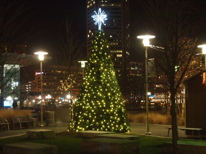 the only Christmas tree I find at the Inner Harbor
