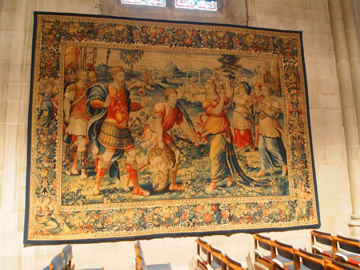 over 500 year old tapestry of David and Goliath