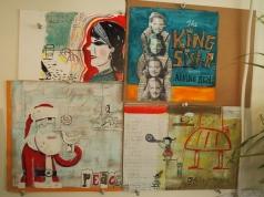 Steph's illustrations in her studio