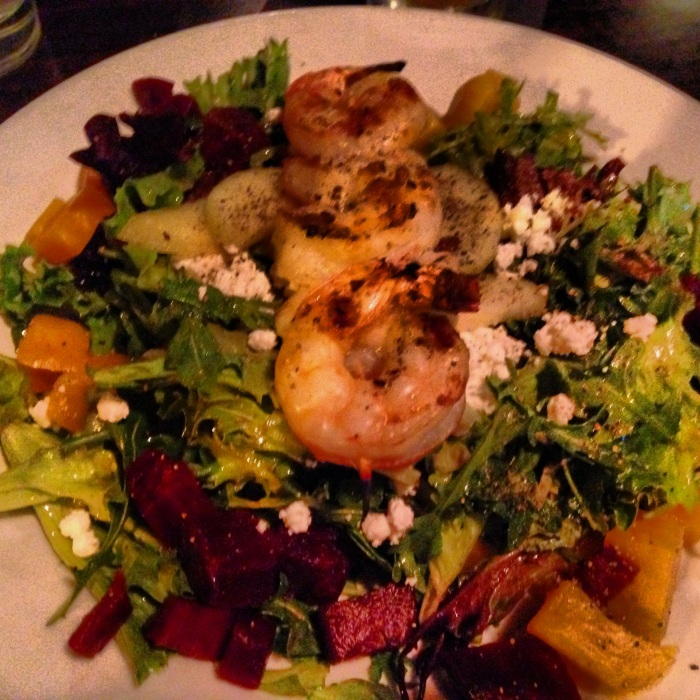 Beet, goat cheese and shrimp salad at Rooster Creek