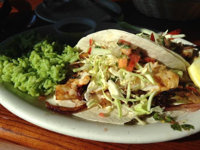 fish tacos with cilantro rice