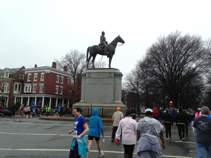 Stonewall Jackson stands on his pedestal and horse on Monument Ave