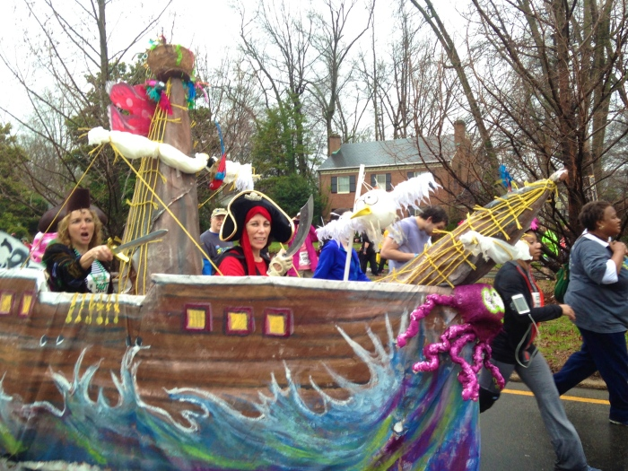 two walkers wearing a pirate ship