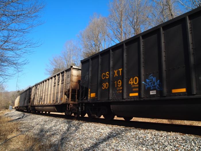 the train barrels past