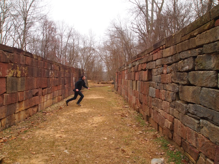 Alex runs across the old locks