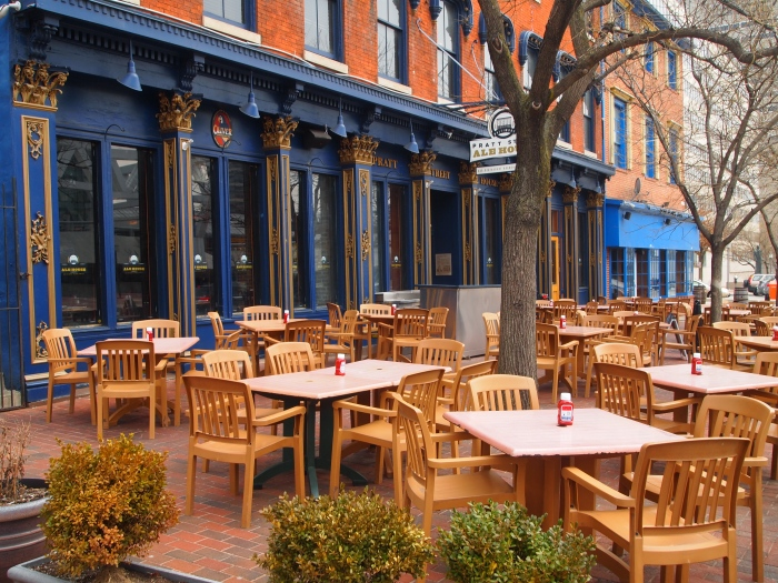 Outdoor tables at Oliver Breweries Ltd.