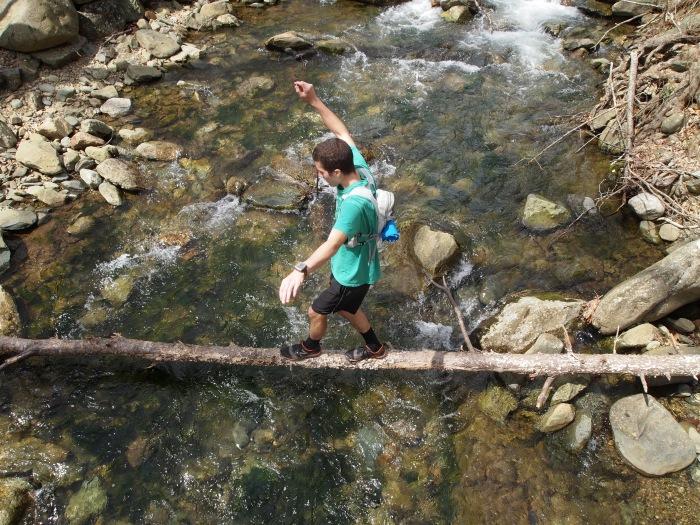 Adam crosses a log bridge