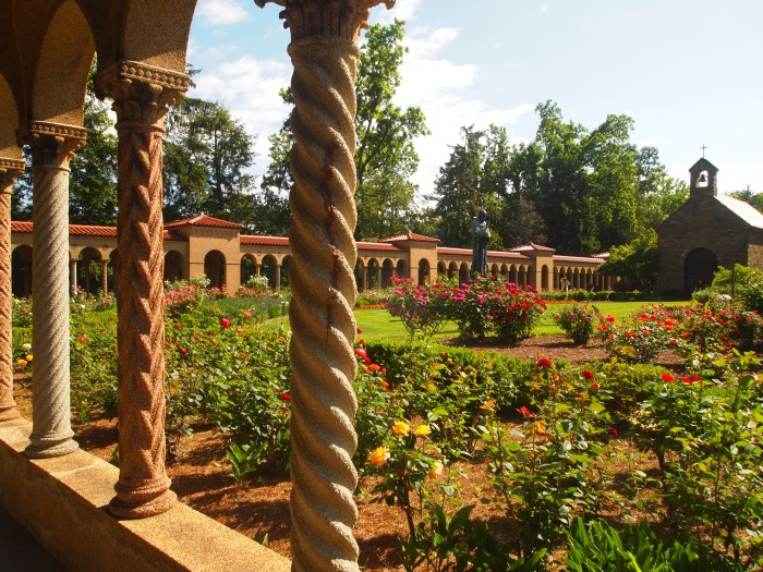 view of gardens from cloisters