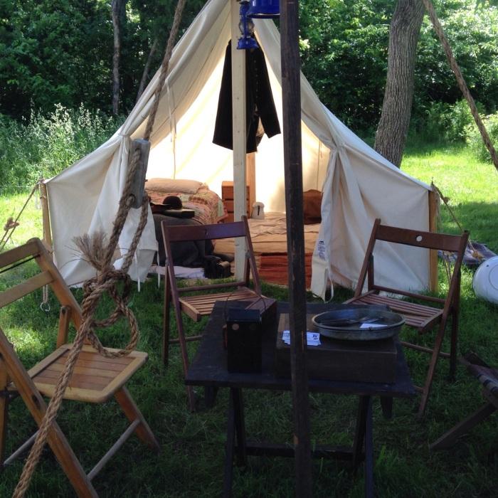 a peek into a tent