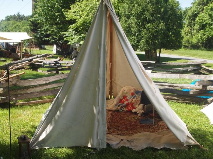 a peek inside a tent