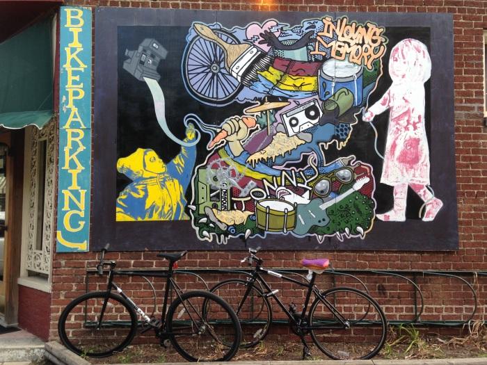 Street art at Joe's Inn, a Richmond dining establishment where Sarah works