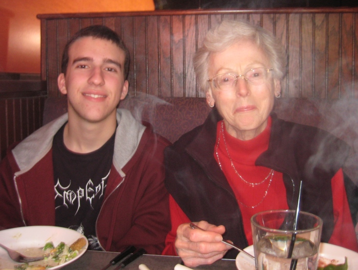 Alex and Shirley in healthier days at the Melting Pot, December 2008