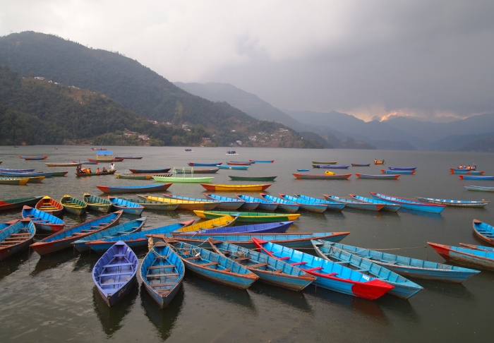 Blue boats in Pokhara