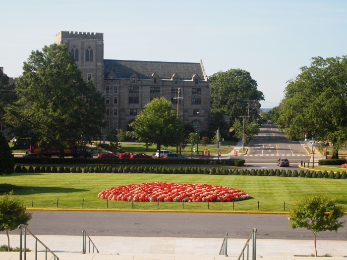 The view of Michigan Avenue from the steps of the Basilica
