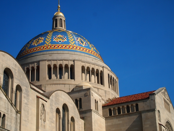The colorful dome of the Basilica