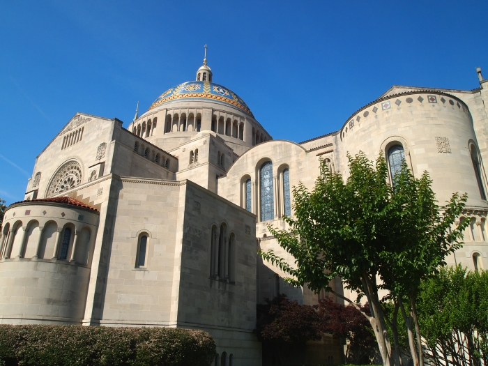 Basilica of the National Shrine of the Immaculate Conception, going around the back